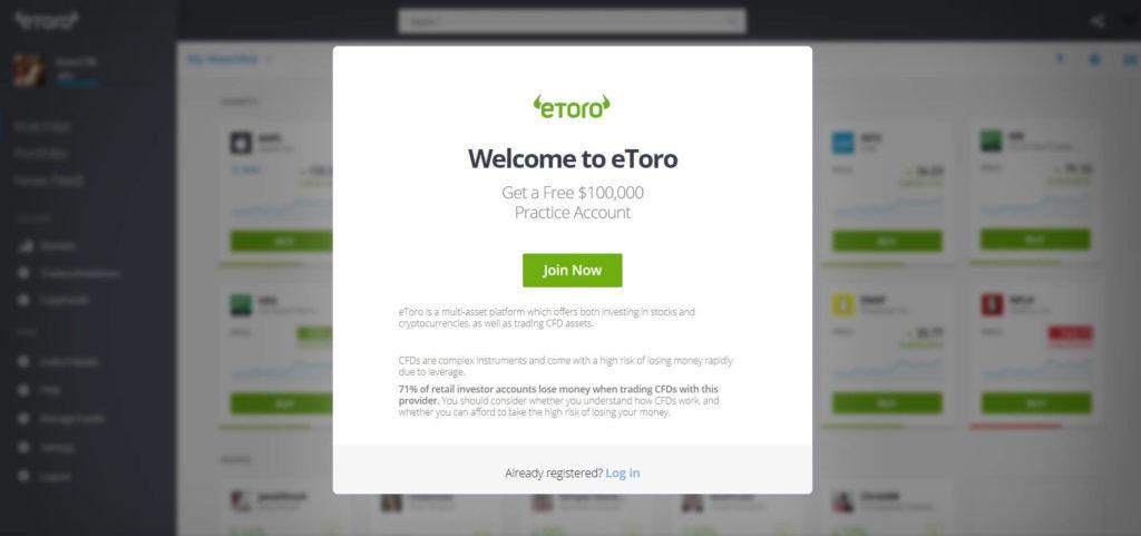 compte demo etoro